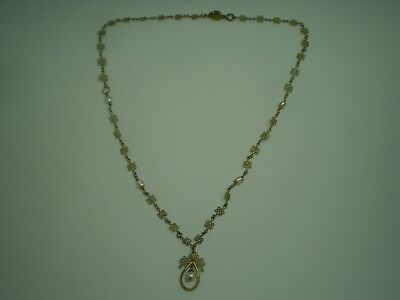 "VINTAGE GOLD-WASH STERLING SILVER FILIGREE 925 18 1/2"" NECKLACE w/ PEARLS"