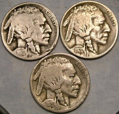1920 P, D, & S Buffalo Indian Head Nickels Lot Of 3 Check Store 4Mor Great Coins