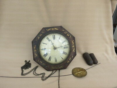 Antique Black Forest Brass Inlaid Striking Postman's Wall Clock For Restoration