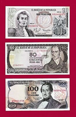 3 COLOMBIA UNC NOTES: 10-1980 (P407), 50-1983 (P422) & 100 Pesos Oro 1980 (P418)