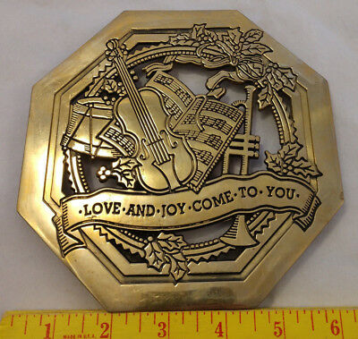 Heavy Brass Xmas Trivet Love & Joy Come To You Hot Plate Pad VTG Musical Cello