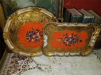 2 Vtg Florentine Trays Round & Rectangle Orange Gold Floral Transfer Shabby Chic