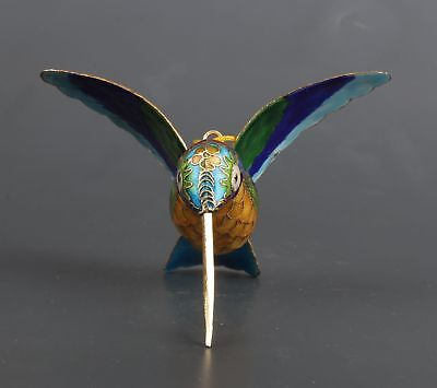 Cloisonne Hand-Carved Hummingbird Statue Animal Collection Gift Pendant China