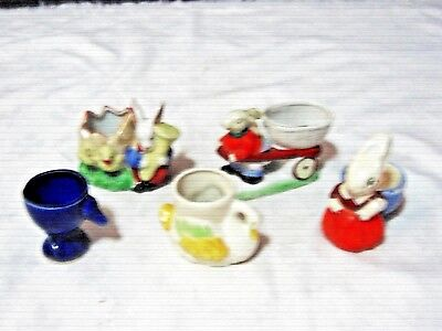 A Lot of 5 Vintage Japanese & English 1920/30/40's Novelty Ceramic Egg Cups