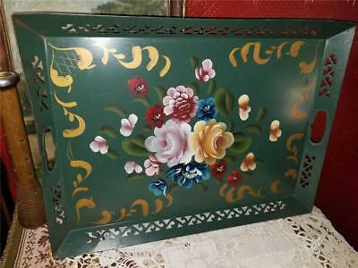 Vintage Shabby Chic 16X21 Metal Serving Tray Pierced Edges Tole Painted Flowers