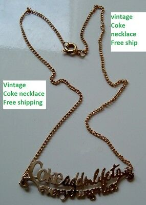 Vintage Coca Cola soda Pop Old Coke Adds life NECKLACE with CHAIN Free ship