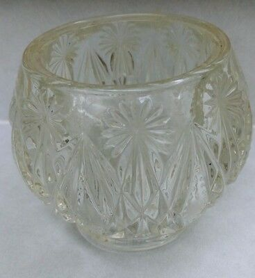 Avon Crystal Cut Clear Glass Votive Candle Holder Rose Bowl