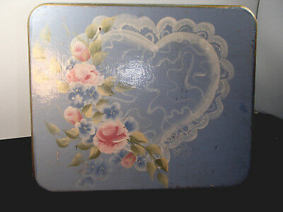 """2005 8""""X 7.5"""" tall Tole Painted Floral Wooden Footstool light blue heart step"""