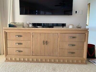 """Beautiful white washed credenza with marble top 75 """" long by 19"""" deep"""