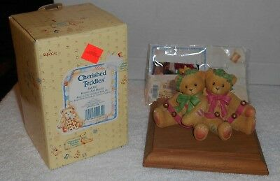 "1998 Enesco Cherished Teddies ""Bonnie And Harold"" Ring In The Holiday #466301"