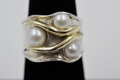 Hagit Gorali Israel Sterling Silver 14K Solid Gold Pearl Size 7 Ring