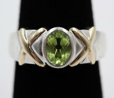 Vintage Dobbs 14K Solid Gold & Sterling Silver Peridot Size 7 Ring