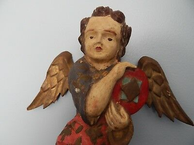 Antique Rustic Art Hand Carved and Painted Wood ANGEL Wall Hanging Statue