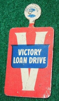 WWII VICTORY WAR LOAN Drive V Button Pin Home Front