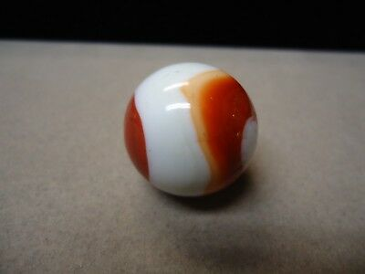 Vintage Akro Agate White Base & Red Corkscrew Marble   1 inch    Mint -