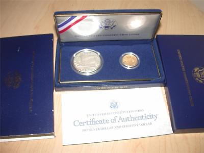 1987 US Constitution Commemorative $1 Dollar Silver $5 Five Dollar Gold Coin Set