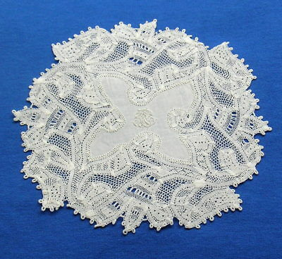 Unusual  Antique Handmade Tape Lace  Doily Coaster