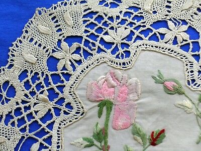 Antique Handmade Silk  Embroidered Bobbin  Lace  Doily