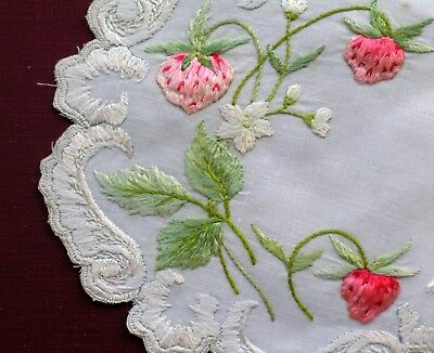 Antique Handmade Silk Society   Embroidered Lace  Doily Coaster 3D Strawberry