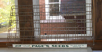 Large Metal Advertising Seed Packet Display Holder Page's Page Seeds Greene NY
