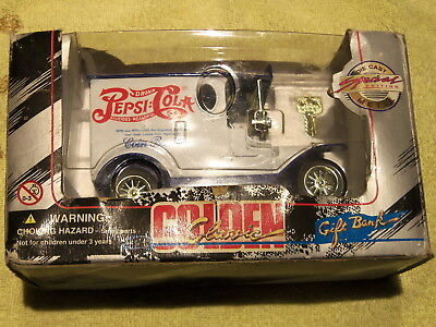 1996 Golden Classic Pepsi Cola Coin Bank Model T Type Die Cast Truck - With Box