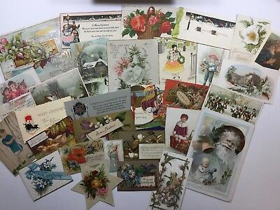Lot of 30 Vintage Victorian Antique 1930s Christmas Xmas Holiday Greeting Cards