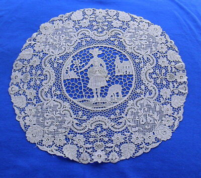 Antique Figural  Machine Made Chemical Lace Doily 11""