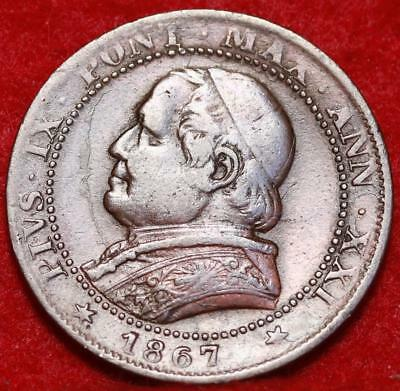 1867 Papal Italian States 1 Soldo Foreign Coin