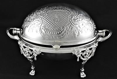 Silver Plate Embossed Repousse Revolving Rotating Dome Top Breakfast Server