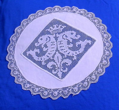 Antique Figural Handmade  Filet Lace  Doily