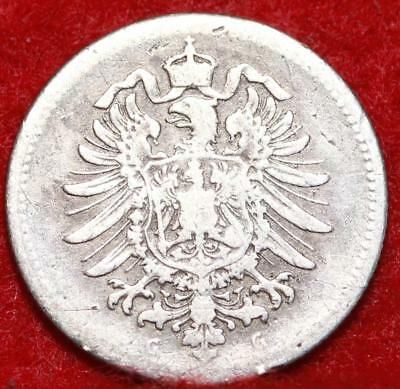 1875G Germany 20 Pfennig Silver Foreign Coin
