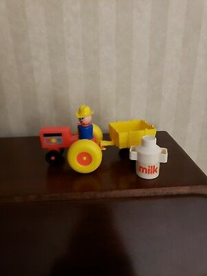 Vintage Fisher Price Little People Farm Tractor/Wagon/ Farmer/Milk Jug