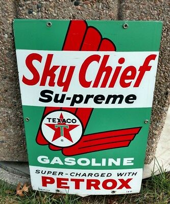 Texaco Sky Chief Petrox Supreme Gasoline Station Porcelain  Original Dated 1963