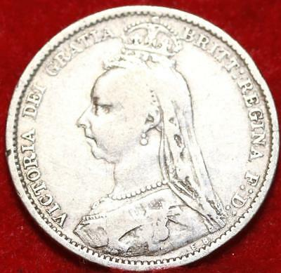 1889 Great Britain 6 Pence Silver Foreign Coin