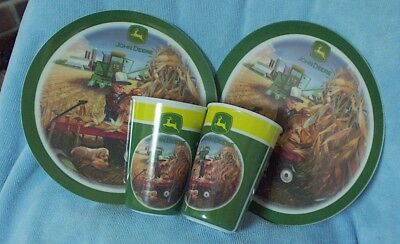 2 John Deere Gibson Plates and Cups