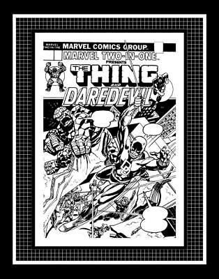 Gil Kane Marvel Two-In-One #3 Rare Production Art Cover Monotone