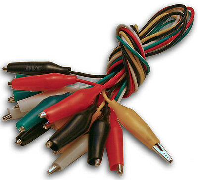 Ten 20-Inch Test Leads with Alligator Clips - Insulated Wire and Alligator Clips