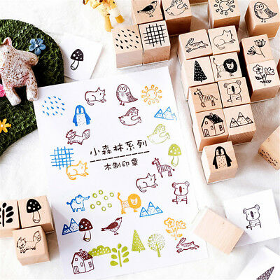 Stationery Animals Wooden Rubber Stamp Cards Decor Forest Series Scrapbooking