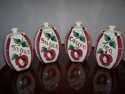 Lovely Complete 4pc Purinton Pottery Apple Canister Set Exceptionally Nice!