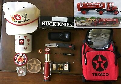 Vintage Texaco lot of 12 Collectibles, truck, knife, lunchbag, Gas Pump, hat, ++