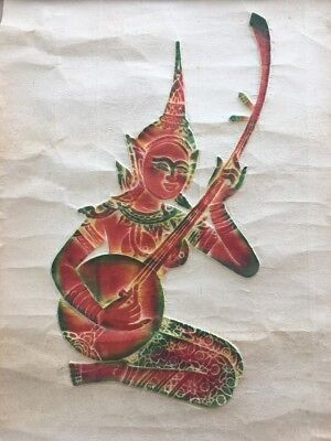 Vintage Thailand Thai Temple Embossed Print - Woman Playing Stringed Instrument