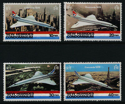 New Hebrides 254-7 MNH Aircraft Concorde, Architecture