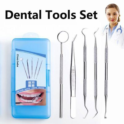 Stainless Steel Dental Set Dentist Teeth Kits Oral Cleaning Probe Tweezers Tools