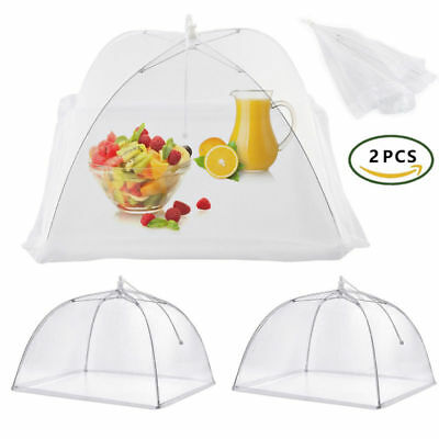 2x Large Collapsible Mesh FOOD COVER Dome Pop Up Plate Umbrella Fly Wasp Net AU