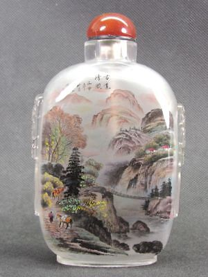 Huge Chinese Ancient Silk Road Inside Hand Painted Glass Snuff Bottle:Gift Box