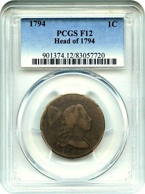 1794 1c PCGS F12 (Head of 1794) Popular Early Large Cent - Large Cent