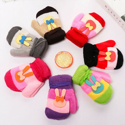 Newborn Infant Baby Striped Full Finger Gloves Animal Cartoon Applique Mittens