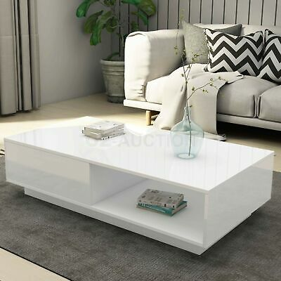 Modern Coffee Table Storage Drawer Shelf Cabinet High Gloss Furniture White New