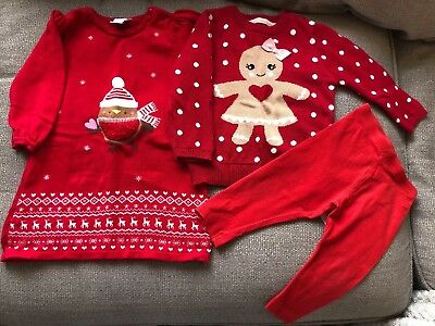 Girls Christmas Bundle Dress Knitted Jumper Leggings Bnwt 9-12 Months