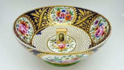 Large Antique Minton Floral & Gold Gilt Pattern 499 Georgian Punch Bowl c1810